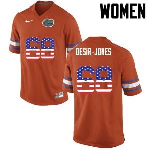 Women Florida Gators #68 Richerd Desir Jones College Football USA Flag Fashion Orange 960808-479