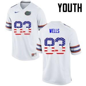 Youth Florida Gators #83 Rick Wells College Football USA Flag Fashion White 592968-398