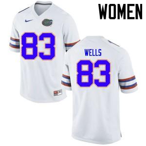 Women Florida Gators #83 Rick Wells College Football Jerseys White 513009-826