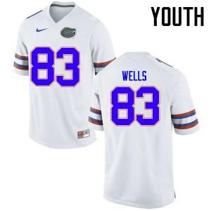 Youth Florida Gators #83 Rick Wells College Football Jerseys White 348950-873
