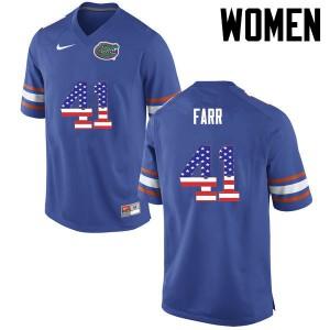 Women Florida Gators #41 Ryan Farr College Football USA Flag Fashion Blue 389975-545