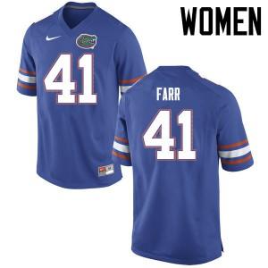 Women Florida Gators #41 Ryan Farr College Football Jerseys Blue 116853-627