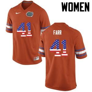 Women Florida Gators #41 Ryan Farr College Football USA Flag Fashion Orange 719053-838