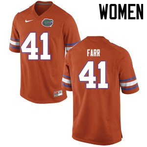 Women Florida Gators #41 Ryan Farr College Football Jerseys Orange 810936-161