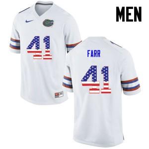 Men Florida Gators #41 Ryan Farr College Football USA Flag Fashion White 482120-392