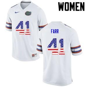 Women Florida Gators #41 Ryan Farr College Football USA Flag Fashion White 441540-386