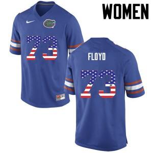 Women Florida Gators #73 Sharrif Floyd College Football USA Flag Fashion Blue 452085-906