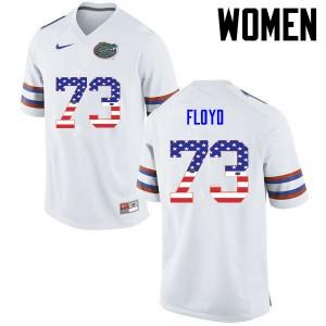 Women Florida Gators #73 Sharrif Floyd College Football USA Flag Fashion White 669591-513