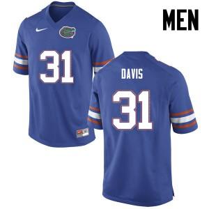 Men Florida Gators #31 Shawn Davis College Football Blue 788534-202