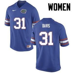 Women Florida Gators #31 Shawn Davis College Football Blue 845480-990