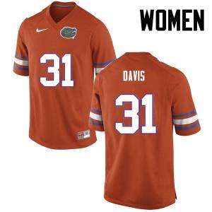 Women Florida Gators #31 Shawn Davis College Football Orange 193113-643