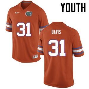 Youth Florida Gators #31 Shawn Davis College Football Orange 611747-829