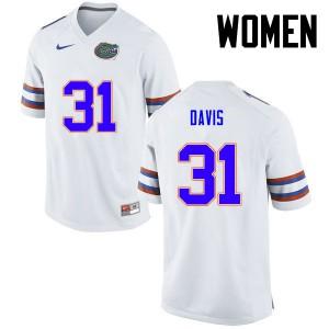Women Florida Gators #31 Shawn Davis College Football White 163730-547