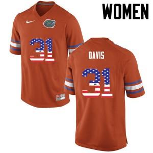 Women Florida Gators #31 Shawn Davis College Football USA Flag Fashion Orange 123920-261