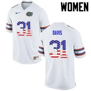 Women Florida Gators #31 Shawn Davis College Football USA Flag Fashion White 337467-507