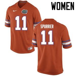 Women Florida Gators #11 Steve Spurrier College Football Jerseys Orange 676818-439