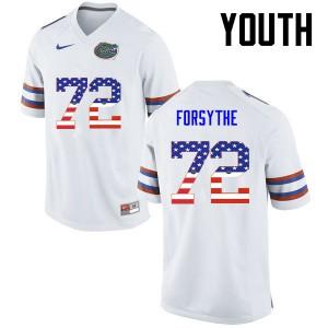 Youth Florida Gators #72 Stone Forsythe College Football USA Flag Fashion White 951253-341