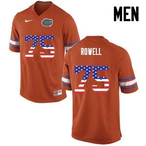 Men Florida Gators #75 Tanner Rowell College Football USA Flag Fashion Orange 496843-554