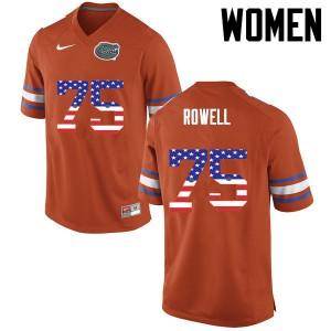 Women Florida Gators #75 Tanner Rowell College Football USA Flag Fashion Orange 771389-867