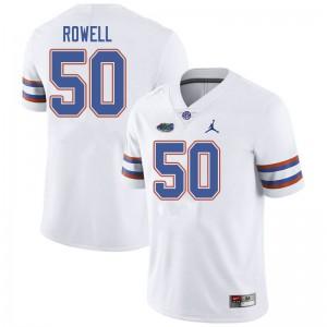 Jordan Brand Men #50 Tanner Rowell Florida Gators College Football Jerseys White 871348-443