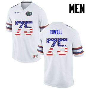Men Florida Gators #75 Tanner Rowell College Football USA Flag Fashion White 789992-502