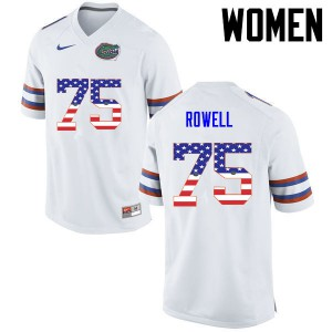 Women Florida Gators #75 Tanner Rowell College Football USA Flag Fashion White 205958-940