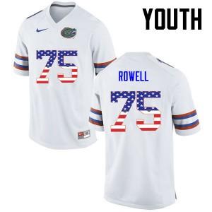 Youth Florida Gators #75 Tanner Rowell College Football USA Flag Fashion White 492248-842