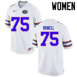 Women Florida Gators #75 Tanner Rowell College Football Jerseys White 932503-510