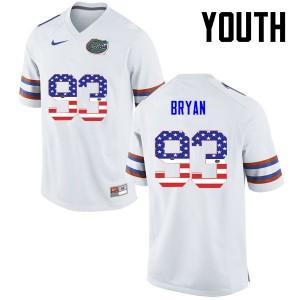 Youth Florida Gators #93 Taven Bryan College Football USA Flag Fashion White 964613-255