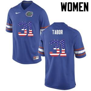 Women Florida Gators #31 Teez Tabor College Football USA Flag Fashion Blue 913659-272
