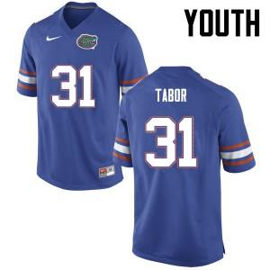 Youth Florida Gators #31 Teez Tabor College Football Blue 653856-762