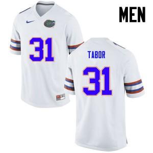 Men Florida Gators #31 Teez Tabor College Football White 579144-189