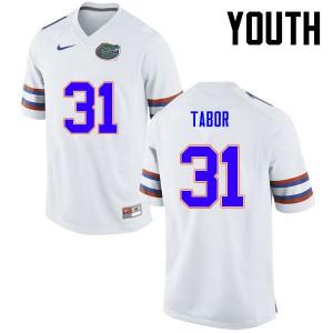 Youth Florida Gators #31 Teez Tabor College Football White 777045-318