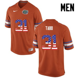 Men Florida Gators #31 Teez Tabor College Football USA Flag Fashion Orange 602175-658