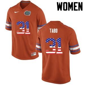 Women Florida Gators #31 Teez Tabor College Football USA Flag Fashion Orange 318013-551