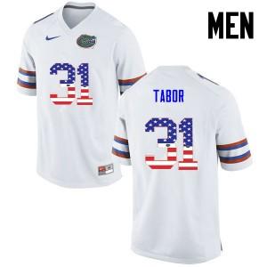 Men Florida Gators #31 Teez Tabor College Football USA Flag Fashion White 356621-860