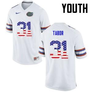 Youth Florida Gators #31 Teez Tabor College Football USA Flag Fashion White 419654-940