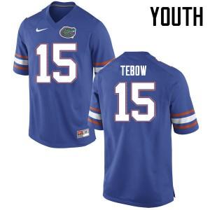 Youth Florida Gators #15 Tim Tebow College Football Jerseys Blue 849033-444