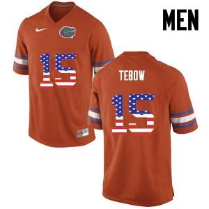 Men Florida Gators #15 Tim Tebow College Football USA Flag Fashion Orange 605684-231