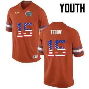 Youth Florida Gators #15 Tim Tebow College Football USA Flag Fashion Orange 583213-568