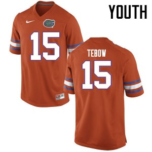 Youth Florida Gators #15 Tim Tebow College Football Jerseys Orange 676720-728