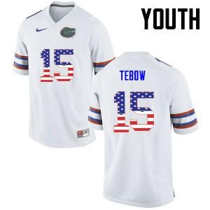 Youth Florida Gators #15 Tim Tebow College Football USA Flag Fashion White 148894-812