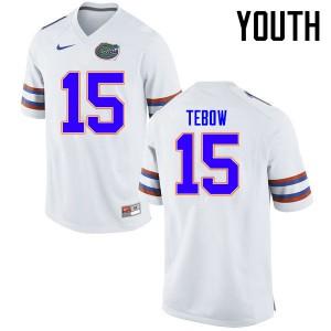 Youth Florida Gators #15 Tim Tebow College Football Jerseys White 977758-487