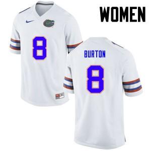 Women Florida Gators #8 Trey Burton College Football White 155219-191