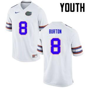 Youth Florida Gators #8 Trey Burton College Football White 500616-138