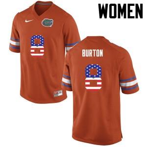 Women Florida Gators #8 Trey Burton College Football USA Flag Fashion Orange 271479-447