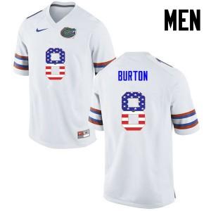 Men Florida Gators #8 Trey Burton College Football USA Flag Fashion White 980798-748