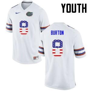 Youth Florida Gators #8 Trey Burton College Football USA Flag Fashion White 116404-803