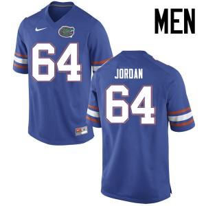 Men Florida Gators #64 Tyler Jordan College Football Jerseys Blue 173899-766