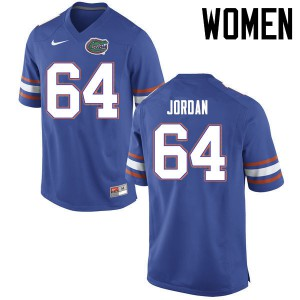 Women Florida Gators #64 Tyler Jordan College Football Jerseys Blue 416157-549